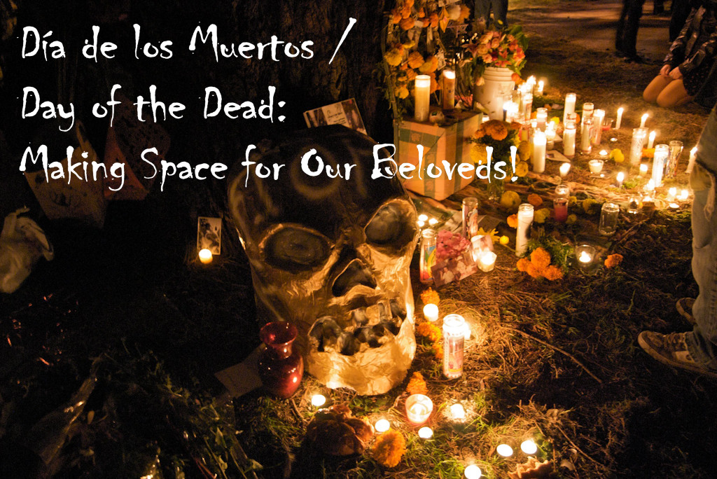 Day of the dead alter with candles.