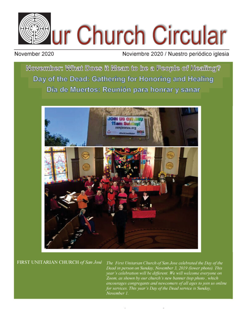 Cover of our November 2020 church circular.