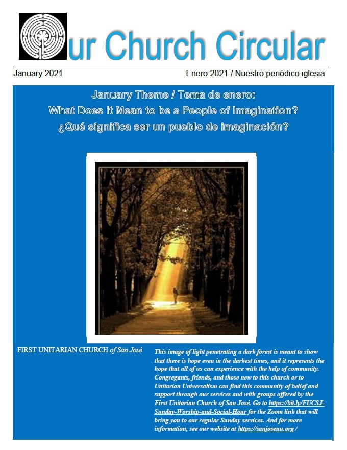 Blue cover of Our Church Circular with golden sunrays passing through forest trees.
