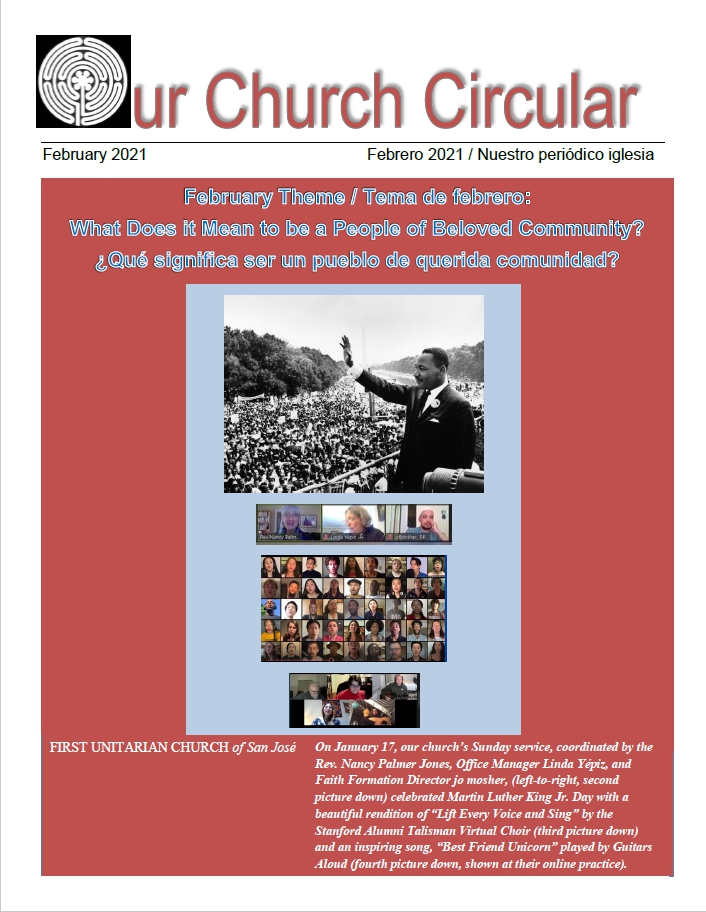 Salmon colored cover of Our Church Circular, with a black and white image of Dr. Martin Luther King Jr., and screenshots of staff and congregants during our Zoom worship.