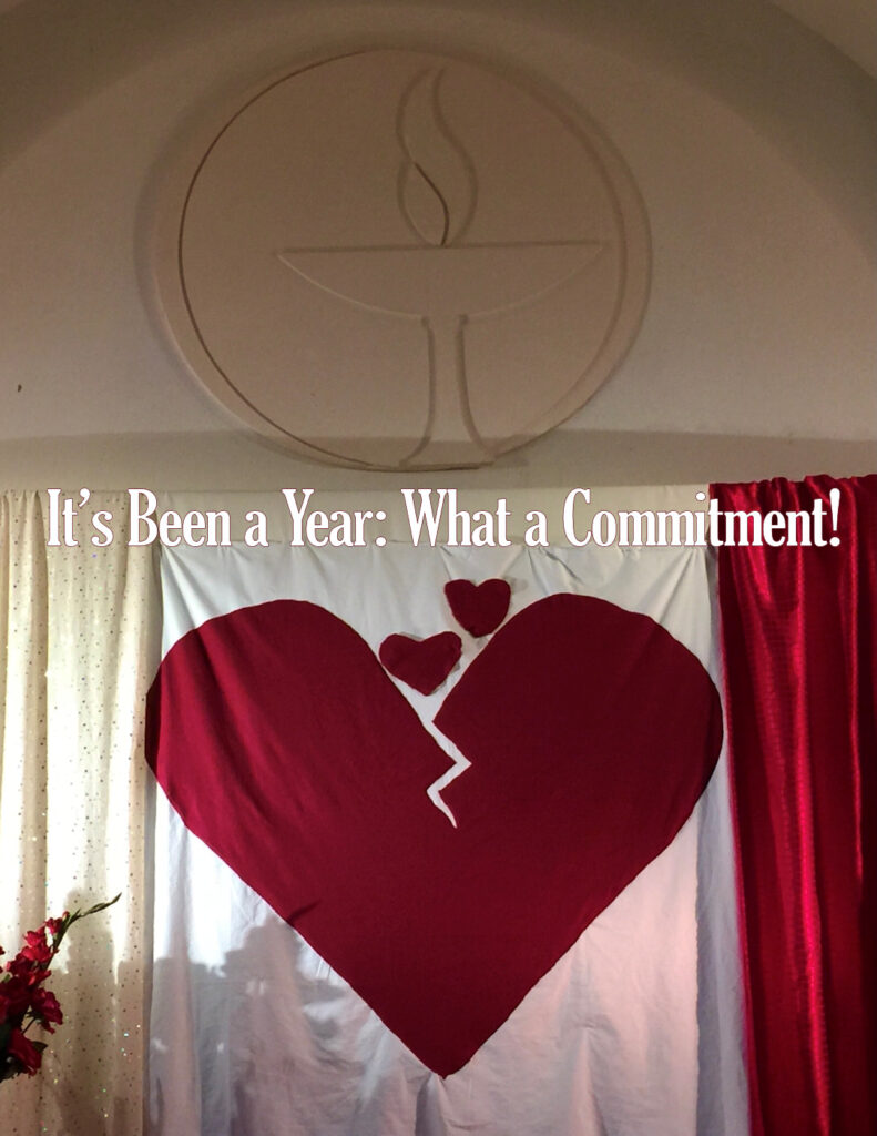 """Image of the """"Broken-Openhearted"""" Chancel Decoration that Jenny Cressman made several years ago. It is a red heart that is cracked, with 2 smaller hearts rising out of it."""