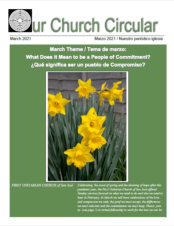 "Green background surrounding a photo of yellow daffodils. The theme of the month is printed in white across the top of the publication, "" What Does It Mean To Be A People of Commitment?"""