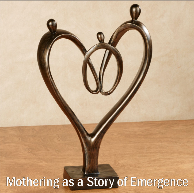 """A brass sculpture -- formed like a line drawing -- in the shape of a heart. The curves and twists of this """"line"""" appear to be three abstract people -- an abstract representation of a family."""