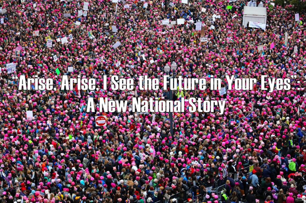 """A virtual """"sea"""" of many thousands of people, taken from above. The vast majority of the people are wearing pink hats, so the effect is one of many many thousands of pink dots. The people are clearly protesting (though the signs they hold up are not legible), and the words """"""""𝗔𝗿𝗶𝘀𝗲, 𝗔𝗿𝗶𝘀𝗲, 𝗜 𝗦𝗲𝗲 𝘁𝗵𝗲 𝗙𝘂𝘁𝘂𝗿𝗲 𝗶𝗻 𝗬𝗼𝘂𝗿 𝗘𝘆𝗲𝘀"""": 𝗔 𝗡𝗲𝘄 𝗡𝗮𝘁𝗶𝗼𝗻𝗮𝗹 𝗦𝘁𝗼𝗿𝘆"""" is superimposed over the center of the image."""
