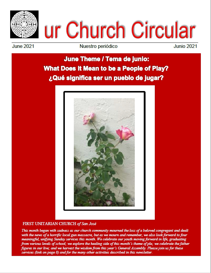 """A photo of two single pink roses and their leaves growing out of the earth, against a red background. Written on the cover is """"June Theme, What Does it Mean to be a People of Play?"""""""