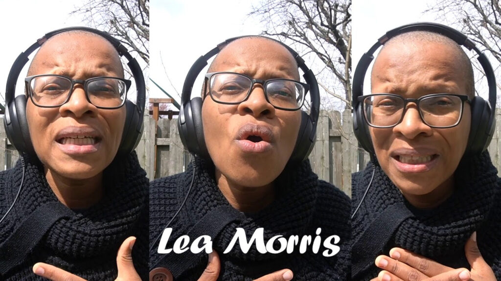 Three images side-by-side of Lea Morris singing. Lea is standing outside in front of a fence, wearing headphones, and a thick black cable-knit sweater.