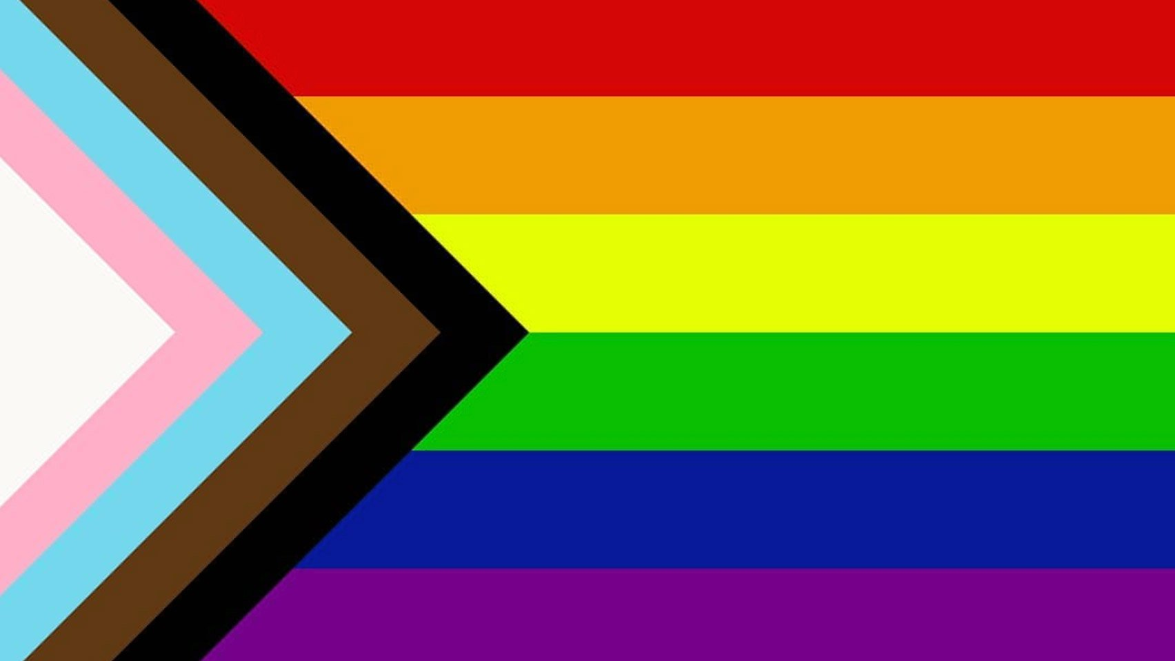 """A progrerssive """"Pride"""" flag with a five-colored chevron to the classic Rainbow Flag to place a greater emphasis on """"inclusion and progression."""" The flag includes black and brown stripes to represent marginalized LGBTQ+ communities of color, along with the colors pink, light blue and white, which are used on the Transgender Pride Flag."""