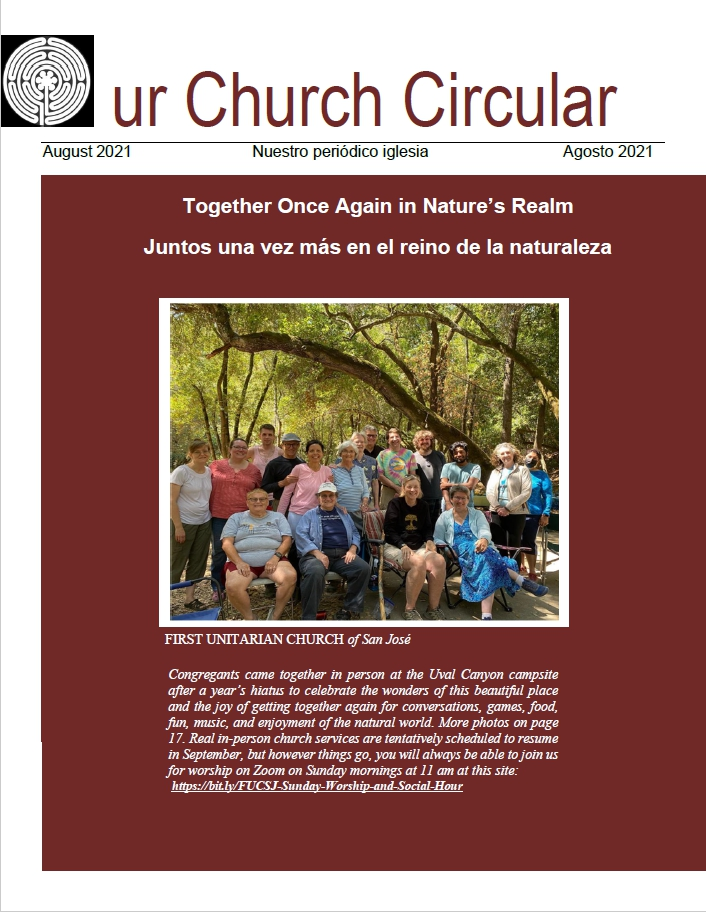 The cover of Our Church Circular with a photo of 17 congregants sitting around a picnic table. The photo was taken at the 2021 all-church campout.